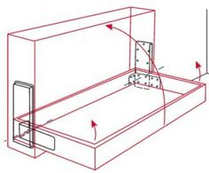 hidden hinges with hydraulic dampeners for opening stage. For use when constructing Murphy beds, but need a similar hinge system for fold-up-against-the-wall dining table. Cama Murphy, Murphy Bed Ikea, Murphy Bed Plans, Murphy Bed With Couch, Bed Couch, Wall Dining Table, One Room Flat, Diy Furniture, Furniture Design