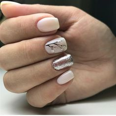 Ivory nails with silver glitter and black foliage detailing. ― re-pinned by Breanna L. ~Follow me and never miss a new nail design!~ #blacknails