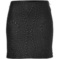 EMILIO PUCCI Quilted Leather Skirt in Black (1,860 CAD) ❤ liked on Polyvore featuring skirts, mini skirts, bottoms, faldas, saias, black, black flared skirt, flared mini skirt, short flared skirts and flare skirt