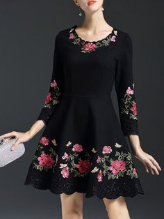 Crew Neck Casual Long Sleeve Floral Embroidered Mini Dress