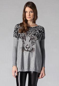 Fashion Days - Holly Kate - Sweter Cheetah, kolor szary Moda Lolita, Fashion Days, Cheetah, Tunic Tops, Cold, Hoodies, Nice, Blouse, Long Sleeve