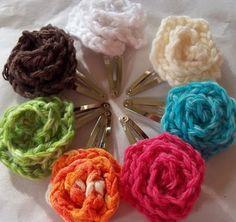 Crochet hair clips - pattern provided.