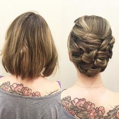 Short hair CAN go up! Here is a more sleek #updo using only loops and #neuma…