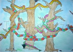 Made by Bart, 12 years old You need: white drawing sheet size colour pencils chalk pastels hairspray Snakes swing themselves around bran. Projects For Kids, Art Projects, Giraffes Cant Dance, Black Construction Paper, Drawing Sheet, Student Drawing, Artists For Kids, Chalk Pastels, Famous Artists