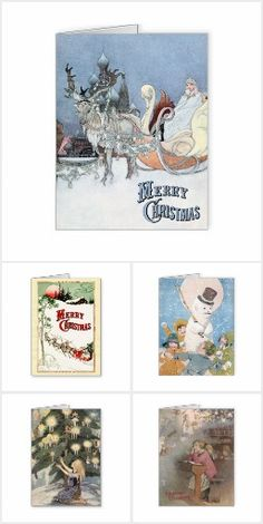 Vintage Illustration Christmas Cards - Now also available in large sizes - suitable for framing.