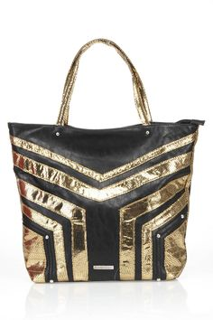 Metallic Tote In Black And Gold.