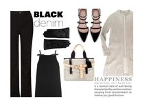 """""""New black denim for contest"""" by juliehalloran ❤ liked on Polyvore featuring MaxMara, Reed Krakoff, Zara, Miu Miu, John Lewis, Saks Fifth Avenue Collection, women's clothing, women's fashion, women and female"""