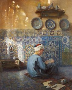 Le petit talibé in Cairo by Paul Alexandre Leroy (French, oil on canvas x 60 cm Art And Illustration, Art Arabe, Middle Eastern Art, Arabian Art, Islamic Paintings, Art Antique, Egyptian Art, Ancient Art, Islamic Art
