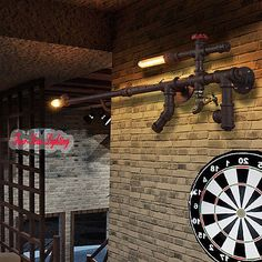 Vintage Loft Industrial Edison Water Pipe Wall Lamp Cinnamon 2 Lights Cafe Bar