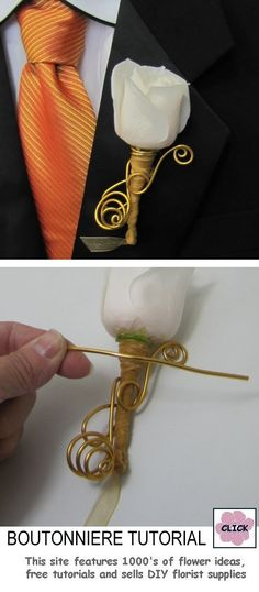 FREE TUTORIALS  http://www.wedding-flowers-and-reception-ideas.com/make-your-own-wedding.html    How to Make a Wedding Boutonniere - Free Flower Tutorial for Corsages, Boutonnieres, Centerpieces and Bridal Bouquets.  Buy wholesale florist supplies online with everything you need to make your own wedding flowers.