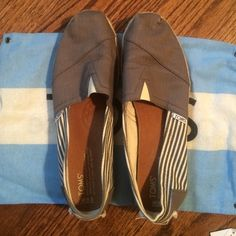 Toms Grey striped shoes Only worn once. In great condition. Comes with dust bag. TOMS Shoes