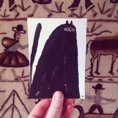 Rob Hodgson, Fat Cat, acrylic on card