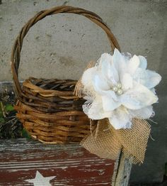 Rustic Wedding - Flower Girl Basket - Country Wedding.. Can make burlap and lace flowers with streamers hanging down