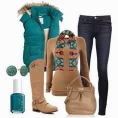 A fashion look from December 2012 featuring gilet vest, skinny leg jeans and back zipper riding boots. Browse and shop related looks. Fall Winter Outfits, Winter Wear, Autumn Winter Fashion, Winter Clothes, Casual Winter, Casual Outfits, Cute Outfits, Fashion Outfits, Fashion Trends