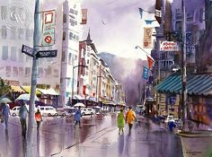 The Intersection, California art by John Bohnenberger. HD giclee art prints for sale at CaliforniaWatercolor.com - original California paintings, & premium giclee prints for sale