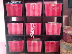 I cut out Victoria's secret bags and bought clear bins :) #roomideas #victoriassecret