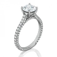 14K White Gold 0.90 ct Henri Daussi Pave Double Halo Ring Setting BGS-IAND