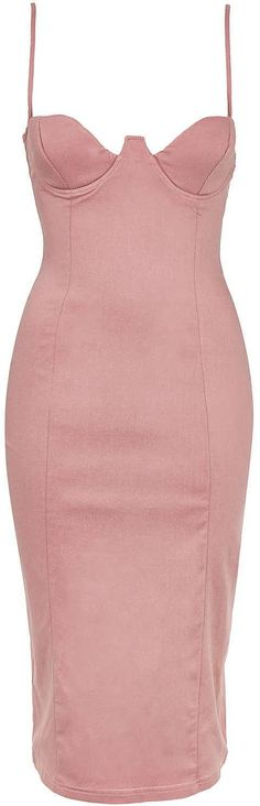 Womens dusty pink plunge cup midi bodycon by rare from Topshop - £45 at ClothingByColour.com