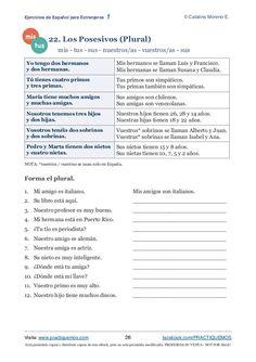 Está permitido copiar y distribuir copias de este eBook, pero no está permitido modificarlo. PROHIBIDA SU VENTA - NOT FOR ... Preschool Spanish, Learning Spanish For Kids, Spanish Language Learning, Spanish Classroom, Teaching Spanish, Possessive Adjectives Spanish, Spanish Grammar, Spanish 1, Spanish Lessons Online