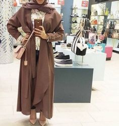 Abaya jacket brown hijab