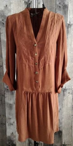 Tibi 100% Silk Pleated Lace Tunic Top Mini Dress 3/4 Sleeve Copper Size 6 #Tibi #Tunic