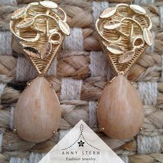 "* LIGHT UP YOUR WEEKEND! *  A perfect piece, hand made meticulously as I was ""sewing"" with Gold! This 18k Gold filled earring with a nude pear shape Cabochon is the right choice for any outfit, because you can match with soft and open colors, as well as strong and hot options. Let your light shine!  >> Have you visited our website today? Fall in love with our collections and exclusive gemstone pieces at www.annystern.com <<"
