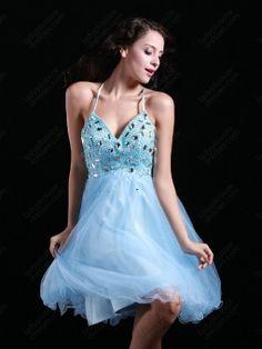 A-line Halter Tulle Short/Mini Blue Rhinestone Homecoming Dress