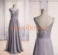 Hey, I found this really awesome Etsy listing at https://www.etsy.com/listing/200890576/new-light-gray-beaded-long-prom-dresses