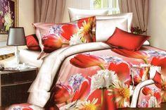 Bielo červené posteľné obliečky s červenými tulipánmi