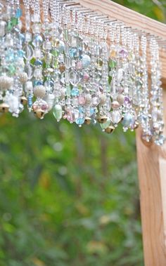 decor diy beaded curtains Bohemian Decorative Glass-Beaded Valance in Pastel Colors (Made to Order) Turquoise And Purple, Turquoise Glass, Crystal Beads, Glass Beads, Crystals, Glass Bead Crafts, Stoff Design, Diy Wind Chimes, Beaded Curtains