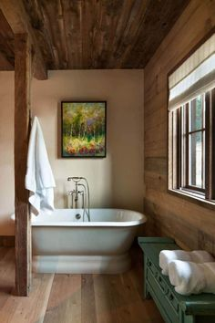 Mountain lodge with a Norwegian influence captures the Rocky Mountains Lodge Bathroom, Bathroom Sets, Small Bathroom, Bathroom Vanities, Bathroom Storage, Relaxing Bathroom, Bathroom Makeovers, Bathroom Modern, Washroom