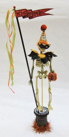 Halloween Skeleton with Costume on Wooden Spool. $30.00, via Etsy.