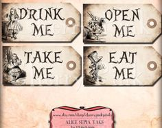Alice in wonderland Tags, SEPIA ALICE tags, Alice in Wonderland decoration, instant download, perfect for parties, presents and invitations.