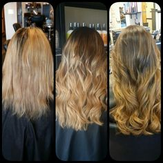 Before and after, 2 seperate visits. Both ombré Great Lengths Human Hair Extensions but two different tones.