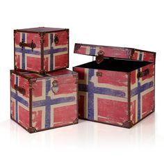 Baúles de madera con la bandera de noruega, 3 tamaños diferentes