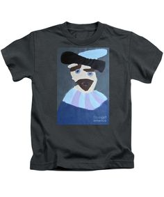 Patrick Francis Designer Kids Charcoal T-Shirt featuring the painting Young Rembrandt In A Plumed Hat - After Rembrandt by Patrick Francis