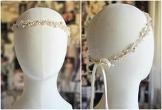 A bespoke pearl and crystal headband in gold tones for Bonnie's upcoming wedding.
