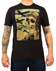 Men's Skull Pilot Bombers by 2 Cents Vintage Military Tattoo T Shirt – moodswingsonthenet