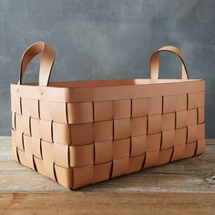 Hand-crafted from chic leather, this woven basket with easy-to-carry handles offers an elegant storage solution for blankets, linens, shoes and more. - A terrain exclusive - Leather - Wipe clean with dry cloth - Imported Basket: Handle: Easy Father's Day Gifts, Vases, Leather Box, Leather Weaving, Leather Projects, Storage Baskets, Basket Weaving, Decoration, Creations