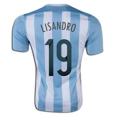 Lisandro Lopez 19 2015 Copa America Argentina Home Soccer Jersey