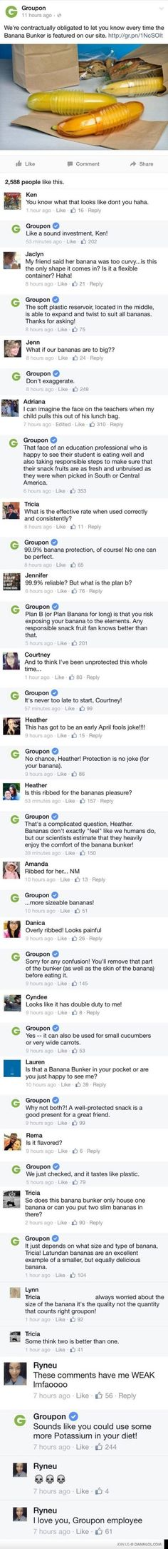This is hysterical. I hope the social media manager for Groupon got a raise after this. Or maybe a banana bunker. XD