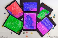 Make homemade magic christmas cards with this wax resistant painting.