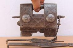 Rare Antique Beautiful Hand Made Tricky Puzzle Two Push Key Big IRON Padlock