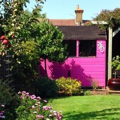 9 Attractive Simple Ideas: Garden Tool Shed Spaces garden tool caddy primitives.Garden Tool Sheds Rake Head garden tool display beautiful. Painted Garden Sheds, Garden Tool Organization, Garden Tool Shed, Shed Colours, Shed Kits, Pink Garden, Summer Garden, Outdoor Sheds, Outdoor Spaces