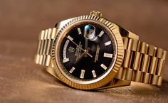 The President bracelet is part and parcel of the design of the Rolex Day-Date; however Rolex does make their Day-Date with other strap/bracelet options too. Cool Watches, Rolex Watches, Dream Watches, Rolex Tattoo, Rolex Cellini, Rolex Air King, Rolex Explorer, Rolex Day Date, Hand Watch
