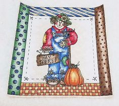 """Vintage Thanksgiving Fall """"Hay There!""""  Applique Iron On  7 x 7"""