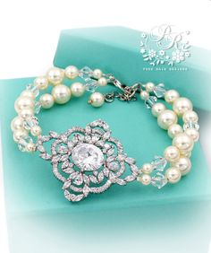 Wedding Bracelet Swarovski Pearl Zirconia by PureRainDesigns