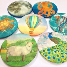 Making pocket #mirrors and #badges with some of my newer #designs ... I think the #sheep might be my favourite! Ceridwen Hazelchild Design