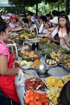 Suan Supatra Land, Rayong Thailand, organic farm, with a fruit buffet and a papaya salad buffet.