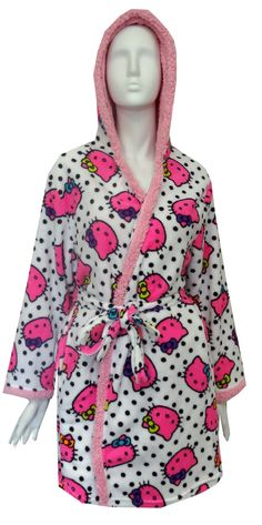 Hello Kitty Neon Kitty Face Plush Robe With Sherpa Hood Awesome! These Hello Kitty robes for women have super bright pink neon kitty faces and polka dots. This ultra soft shower robe has a sherpa lined hood and sherpa trim. Two pockets and interior and exterior ties add an extra special something to this luxurious robe. Junior cut.